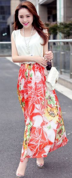 Maxi chiffon summer flower printed dress YRB0688 #maxi #summerfashion