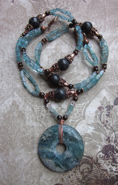 ATHENA Necklace blue Apatite gemstones by JKDKdesigns on Etsy, $72.45