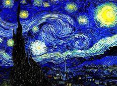►A Noite Estrelada◄   ⟶   Obra de ▻Van Gogh◅ (1889)  ⟶  Encontra-se no Museu de Arte Moderna de Nova York.
