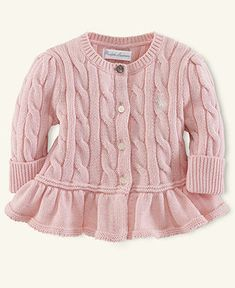 Ralph Lauren Baby Sweater, Baby Girls Flared-Hem Cardigan - Kids Newborn Shop - Macy's