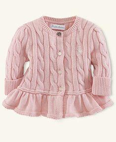 Ralph Lauren Baby Sweater, Baby Girls Flared-Hem Cardigan - Kids Newborn Shop - Macy's