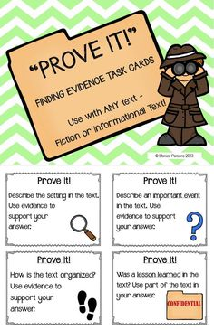 """Prove It!"" - finding evidence task cards - a great way for students to consult the text & prove their answers"