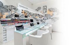 The Nail Spa - Nail Salon in Dubai nail art bar - Nail Art Salon In Dubai, Olive Oil Skin, Pedicure Spa, Nail Bar, Exposed Brick, Modern Interior, Salons, Nails, Ongles
