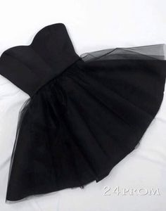 Simple black tulle short prom dress 2016 for teens, homecoming dress, ball gown, modest prom dress
