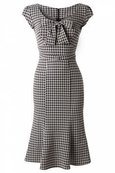 Stop Staring! - TopVintage Exclusive ~ 60s Grande Black White Houndstooth wiggle dress