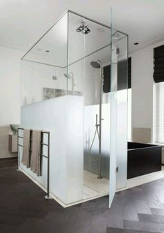 Frosted Glass Shower 3/4 way up for privacy will give you light and privacy
