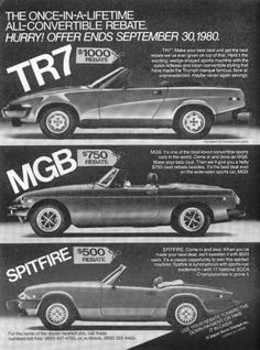 TR7 and Spitfire, US advert