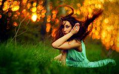 Brunettes green women Sun dress yellow forest grass blender