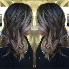 long black hair with brown and blonde balayage