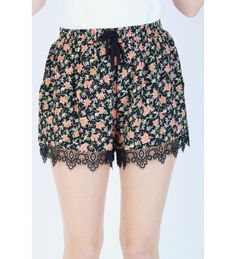 LYDC Black High Waisted Floral Draw String Shorts Floral Shorts, Boho Shorts, Lace Shorts, Cotton Shorts, Fashion 2020, High Waisted Shorts, Catwalk, Cute Outfits, Draw