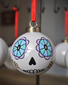 Day of the Dead/Sugar Skull Porcelain Ball Ornament Skull Hand, Ball Ornaments, Day Of The Dead, Red Ribbon, Sugar Skull, One Pic, Christmas Bulbs, Original Art, Porcelain