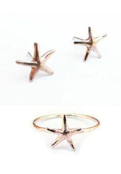 Starfish Earrings + Ring - how cute!
