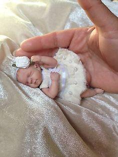 """TINY REBORN, OOAK POLYMER CLAY BABY GIRL, 4.25"""" BY MARIA ALEJANDRA"""