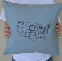 """""""Heart Strings"""" Map pillow - precious gift for long distance friends Map Crafts, Arts And Crafts, Long Distance Pillow, Long Distance Relationship Quotes, Distance Relationships, Blue Pillows, Love And Marriage, Craft Videos, Making Ideas"""