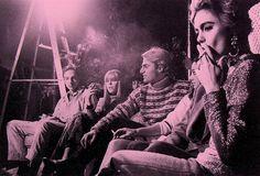 1960s ANDY WARHOL Factory EDIE SEDGWICK Gerard Malanga Group Smoking Sitting vintage photo. - Love this girl...