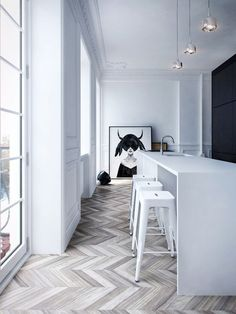 Interior MA by Architecture. Love the white color palette herringbone floor and art print. Great metal bar stools and floor to ceiling windows. White Interior, Home, House Design, Apartment Display, Modern Apartment, Flooring, Interior Design Inspiration, House Interior, Interior Architecture