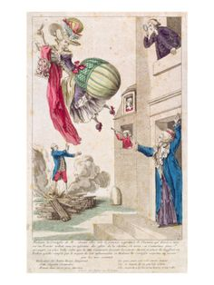 Remember that this was the dawn of flight. Ballooning was chic added to it  the fashionable rage of extreme padding; you could easily correlate ballooning to the shape of a stylish ladies figure. and successfully ridicule each.  I love the guy at the window with his quizling glass c.1783-4