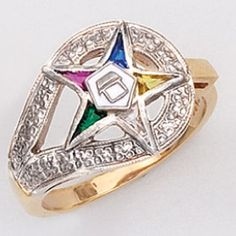 Eastern Star Rings - 23k Gold Plating over Sterling Silver Multi-color CZs Eastern Star Ring with Eastern Star Symbol