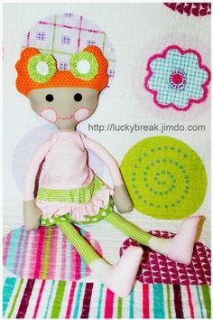 Mimin Dolls: Boneca cabelo de tecido