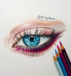 Eyes Artwork, Coloured Pencils, Drawings, Instagram, Color, Colour, Sketches, Drawing, Portrait