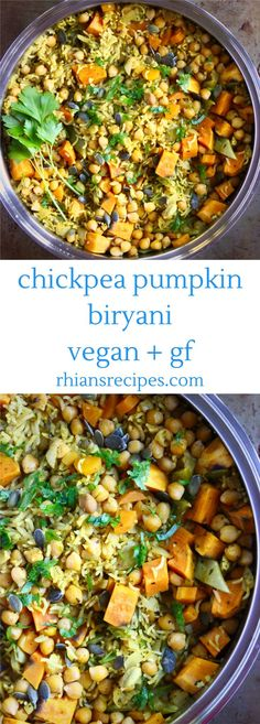 This Chickpea Pumpkin Biryani is easy to make, super nutritious and full of flavour. Vegan and gluten-free. With dried cranberries, flaked almonds and pumpkin seeds.
