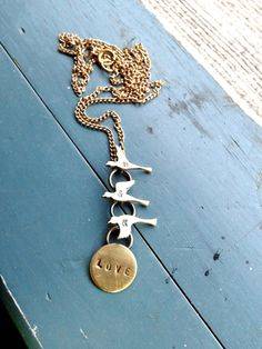 Taking Flight  Personalized Brass Bird Pendant by NinaRaizel, $28.00