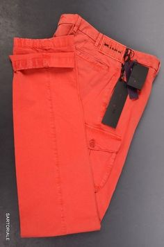 KITON Made In Italy Red Cotton Casual Pants IT 48 NEW Slim Fit