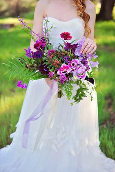 Purple Wedding Ideas - purple wedding bouquet - photo by Arina B Photography http://ruffledblog.com/purple-inspired-wedding-ideas