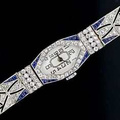 Art Deco sapphire and diamond watch