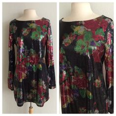 "Express sequin dress Express sequin dress. Size L. Fully lined. The shell and lining are both 100% polyester. There is very little stretch to this dress. Measures 34"" long with a 38"" bust. No trades. Poshmark onlyI am very open to fair offers! Express Dresses Long Sleeve"