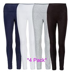 Womens Cotton Stretch Full Length Leggings  4 Colors xlarge 4 pack 1 blk 1 navy 1 white 1 grey -- See this great product.