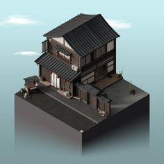 Isometric - Japanese house and garden by Halcyon-Design on DeviantArt Isometric Drawing, Isometric Design, 3d Design, Game Design, Low Poly Games, Art Folder, Low Poly Models, Modelos 3d, 3d Artwork