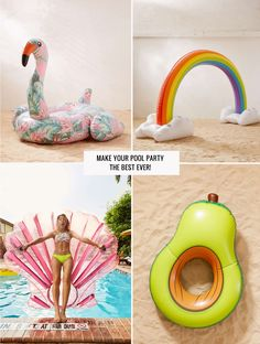 Best Pool Floats for Summer // Giant Rainbow and Avocado Float