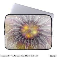 Luminous Flower, Abstract Fractal Art Computer Sleeves