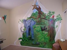 Jungle Nursery Wall Murals Ideas - Pinned for BabyBump, the #1 mobile pregnancy tracker with the built-in community for support and sharing. #nursery