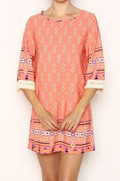 AZTEC BORDER PRINT SHIFT DRESS