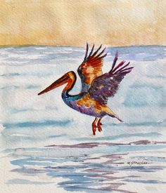 Artists Of Texas Contemporary Paintings and Art - Watercolor Beach Painting, Pelican 13084, Day 26 of the Leslie Saeta 30/30 challenge, ArtByte Collage Tutorial, Book of Poems, Dreams of the...