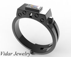 Men's Black Gold Diamond Handcuff Wedding Band