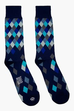 Paul Smith Navy Diamond Pattern Socks for men | SSENSE