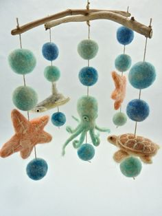 Sea Creature Mobile, Hammerhead, Octopus, Star Fish, Sea Turtle Muted Colors, Baby Mobile, Sea Blues, coral. $300.00, via Etsy.