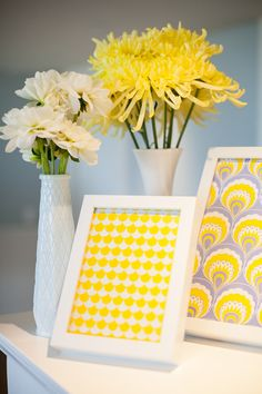 #baby-shower, #artwork, #yellow, #frame  Photography: Maya Myers Photography - mayamyers.com  Read More: http://www.stylemepretty.com/living/2014/01/06/smp-living-graphic-print-inspired-baby-shower/
