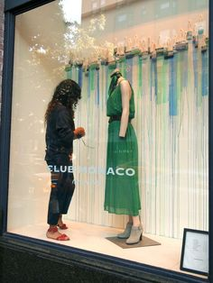window dressing at Club Monaco in NYC #green #store: