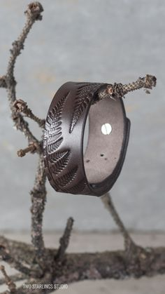 Brown Leather Bracelet for Men, for Women, Mens Womens Cuff Bracelet, Fern Leaves
