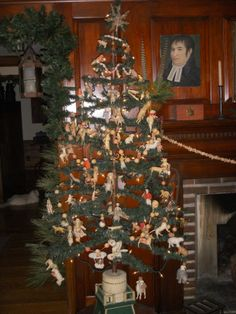 Christmas Feather Tree with Antique Cotton Ornaments.
