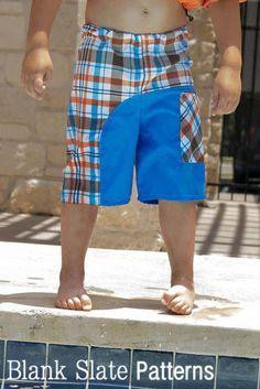 Salt Water Swim Trunks Sewing Pattern - Sew board shorts for boys Sewing Projects For Kids, Sewing For Kids, Baby Sewing, Toddler Boy Swim Trunks, Boys Swim Trunks, Diy Clothing, Sewing Clothes, Boys Sewing Patterns, Boys Swimwear