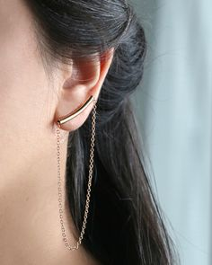 These timeless beauties are a modern classic. If you're looking for a little pair of earrings for everyday use then you've found the right ones, our gold bar stud, long chain earrings. Shop all our Persian-Inspired Jewelry online at alangoo.com/lakoodesigns