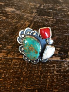 Turquoise red coral and bone