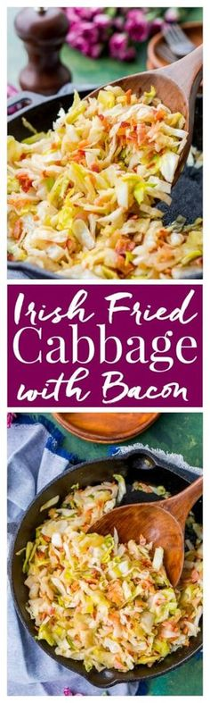 Irish Fried Cabbage and Bacon is a simple recipe thats pan fried in bacon grease and loaded up with bacon pieces and onion and seasoned with brown sugar, salt, and pepper. via Rebecca Hubbell / Sugar Soul cabbage recipes Bacon Recipes, Side Dish Recipes, Vegetable Recipes, Dinner Recipes, Cooking Recipes, Healthy Recipes, Paleo Dinner, Meal Recipes, Recipies