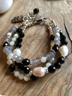 Multi strand bracelet onyx pearl gray quartz and mother of
