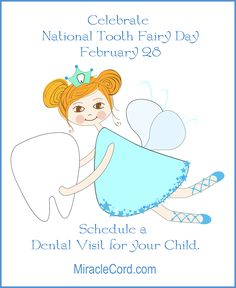 Celebrate National Tooth Fairy Day. MiracleCord.com #nationaltoothfairyday